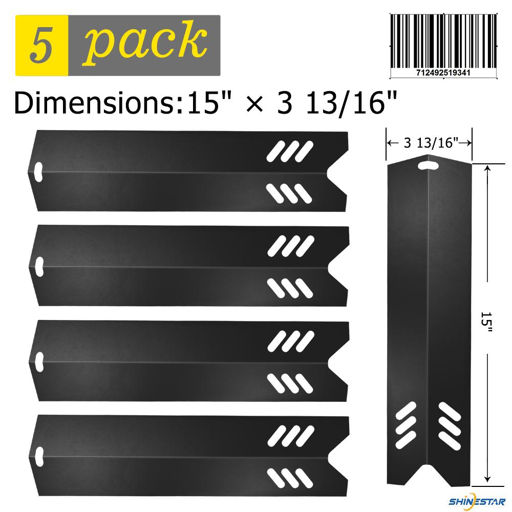 SHINESTAR Grill Replacement Parts for Uniflame GBC1059WB, Backyard Grill GBC1255W, Better Home and Garden, 5-Pack 15 inch Porcelain Steel Heat Plate Shield Tent Flame Tamer BBQ Burner Cover(SS-HP014)