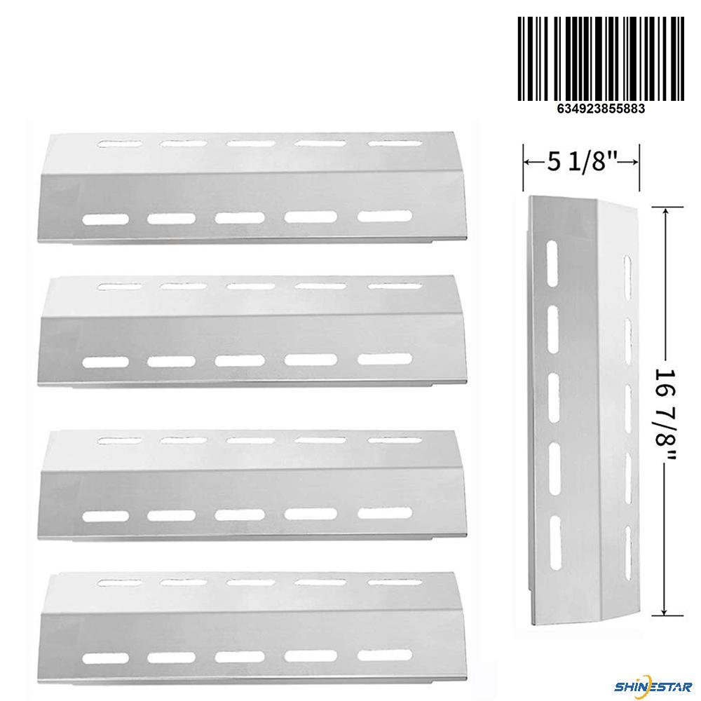 SHINESTAR Grill Replacement Parts for Ducane 5 Burner 30500701, 30500097, 30400040, 30400042, 30400043, 5-Pack 16 7/8 inch Stainless Steel Heat Shield Tent Plate BBQ Burner Cover Flame Tamer(SS-HP013)