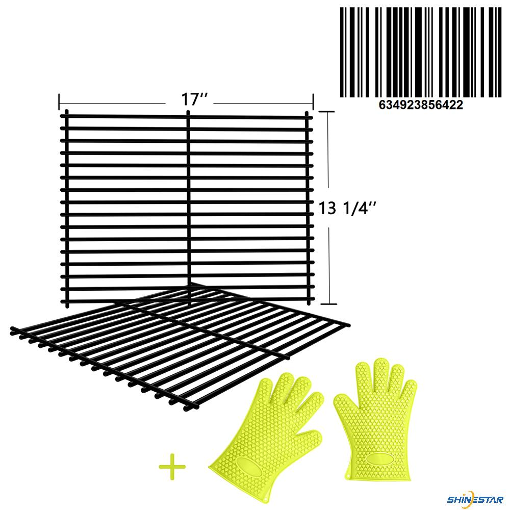 SHINESTAR Grill Grates for Nexgrill 720-0830H, 720-0783E, Kenmore, Members Mark, Uniflame, Porcelain Steel Grates Replacement Parts(17'' x 13-1/4'' each, 2pcs)-Include Grill Gloves
